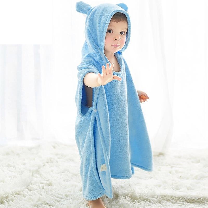 ocean blue Kids Hooded Towelling Robe PONCHO Children SIZEn 90 X 60 CM
