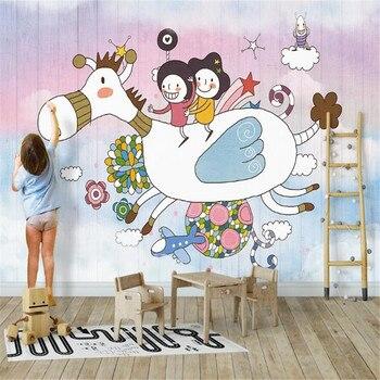 milofi factory custom wallpaper mural Nordic 3d cartoon wood board childrens room background wall