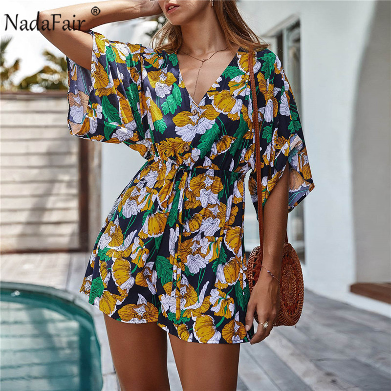Nadafair Beach Playsuit 2020 Summer Casual Short Sleeve Tunic Sexy V Neck Boho Floral Rompers Womens Jumpsuit