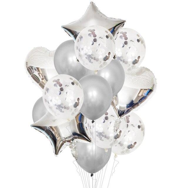 14 pièces/ensemble coeur étoile feuille ballon confettis Latex ballons de mariage fête décoration enfant enfants fille garçon anniversaire Globos ballons