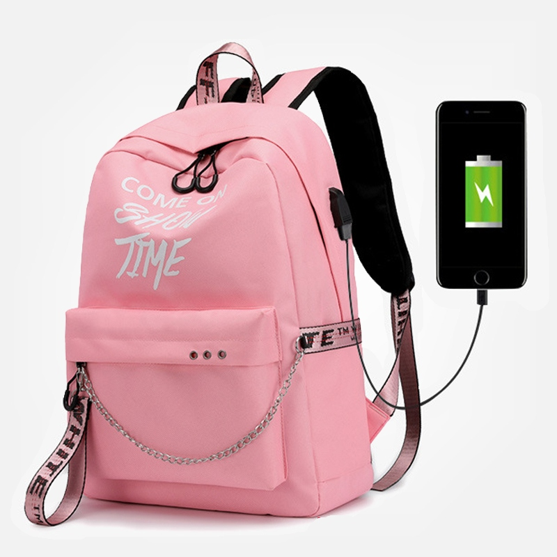CJH Small Shoulder Bag Female Bag Large High School Student Bag Fashion Trend Leisure Travel Bag Backpack Pink
