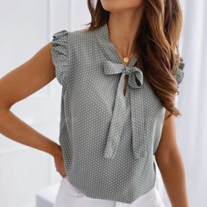 Muyogrt Women Blouses Butterfly Short Sleeves Shirt Woman Summer Bow Lace Up Polka Dot Female Tops Ruffle Pullover Vintage Blusa
