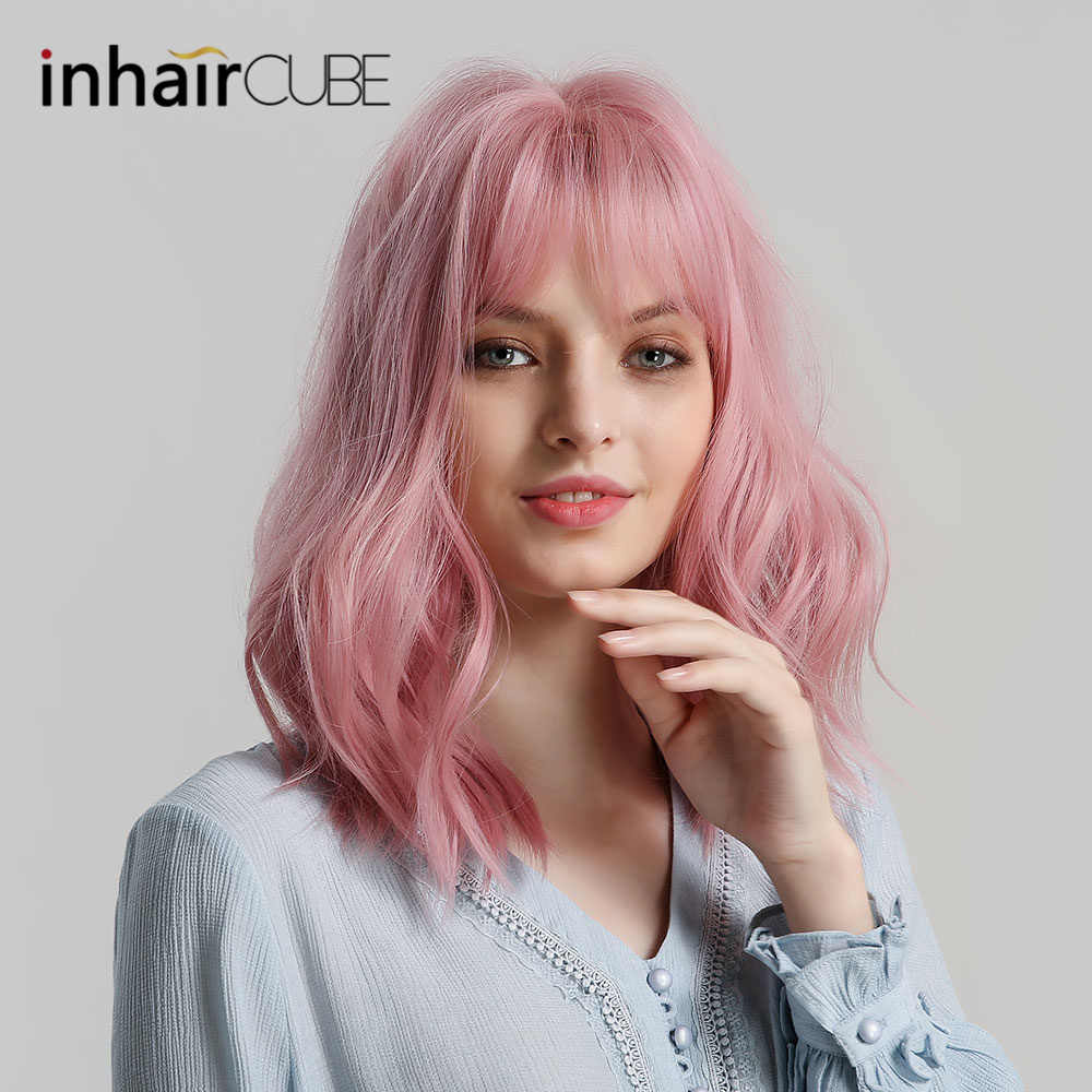 """Inhaircube 14"""" Pink Long Womens Lolita Natural Wave Synthetic Hair Wigs with Bangs INS Ombre Real Simulation  Free Shipping"""