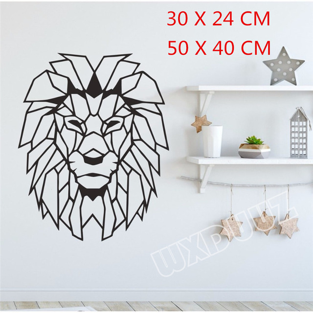 Patterned Decorative Lion Design Wall Art Vinyl Stickers African Animal Transfer