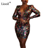 Liooil Colorful Sequin Sexy Bodycon Mini Dress Women 2019 Long Sleeve Deep V Neck Zip Up Night Club Party Tight Fitted Dresses