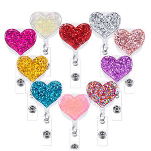 idclip 1pc Bling Love Heart Retractable Badge Holder Badge Clips for Nurse ID Badge Reel