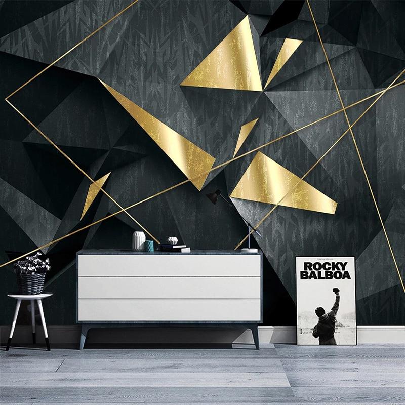 Custom Mural Wallpaper Modern Geometry Golden Line Wall Painting Living Room Bedroom Home Decor Creative Abstract Art Wallpapers