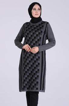 Minahill czarna jasna czarna tunika 1102-05 tanie i dobre opinie Aplikacje Bluzki i koszule Octan Dla dorosłych