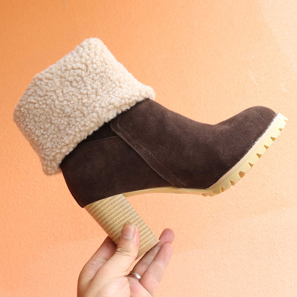 BONJOMARISA yeni sıcak satış moda çeviklik kenarları patik bayanlar platformu yarım çizmeler kadın 2020 yüksek topuklu ayakkabılar kadın 34 -43