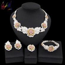 Yulaili Dubai Jewelry Sets for Women Cubic Zircon Three Tones Flower Shape Charm Necklace Earrings Bracelet Ring Party Jewellery
