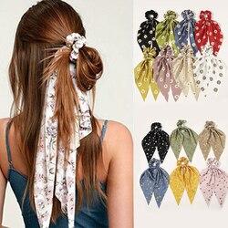 Minhin moda floral impressão scrunchies sólido longo fita de cabelo para as mulheres rabo de cavalo cachecol doce elástico faixa de cabelo acessórios para o cabelo