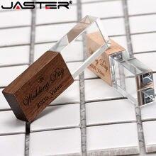 SAHNDIAN, venta al por mayor, unidad flash usb de madera de cristal, disco flash en u, pendrive 16GB 32GB 64GB regalo de boda