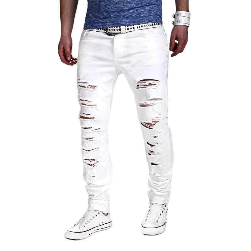 Jodimitty De Moda Blanco Jeans Hombres Sexy Agujero Rasgado Angustia Lavado Pantalones Vaqueros Ajustados Para Hombre Ropa Casual Hip Hop Pantalones 2020 Pantalones Vaqueros Aliexpress