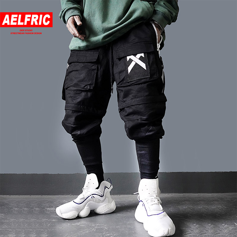 AELFRIC Detachable Multi Pockets Cargo Pants Mens 2019 Harajuku Hip Hop Streetwear Joggers Man Elastic Waist Sweatpants Techwear