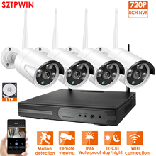 8CH 1080P HD Wireless NVR Kit P2P 720P Indoor Outdoor IR Night Vision Security 4pcs 1.0MP IP Camera WIFI CCTV System