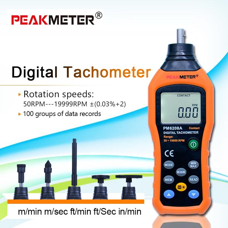 Бесплатная доставка HYELEC MS6208A контактный цифровой тахометр Многофункциональный измерительный прибор Высокая производительность 50 19999 ОБ/ми