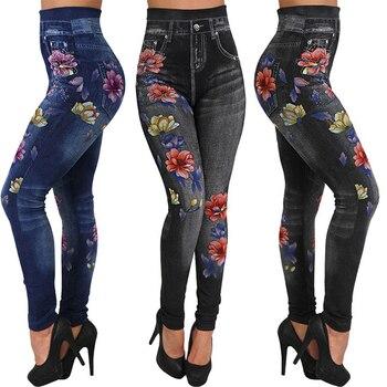 Ladies Denim Skinny Trousers Trendy Women Sexy Leggings Autumn Jeans Slim Pocket Floral Print Rose P