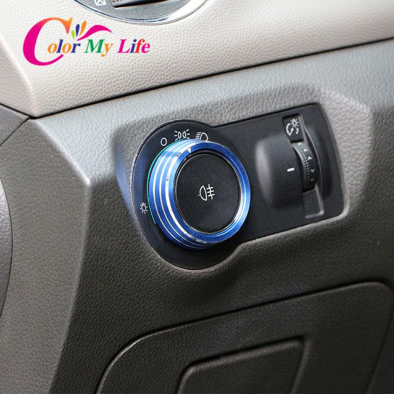 Color My Life Stainless Steel Headlight Switch Knob Trim Fog Lamp Sticker for Chevrolet Malibu Cruze Trax for Opel Mokka ASTRA J