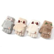 Новинка зима женщины перчатки плюш искусственный мех вязание шерсть сохранить тепло мода шорты рукавицы без пальцев леди девушка половина% 2Ffull палец перчатки