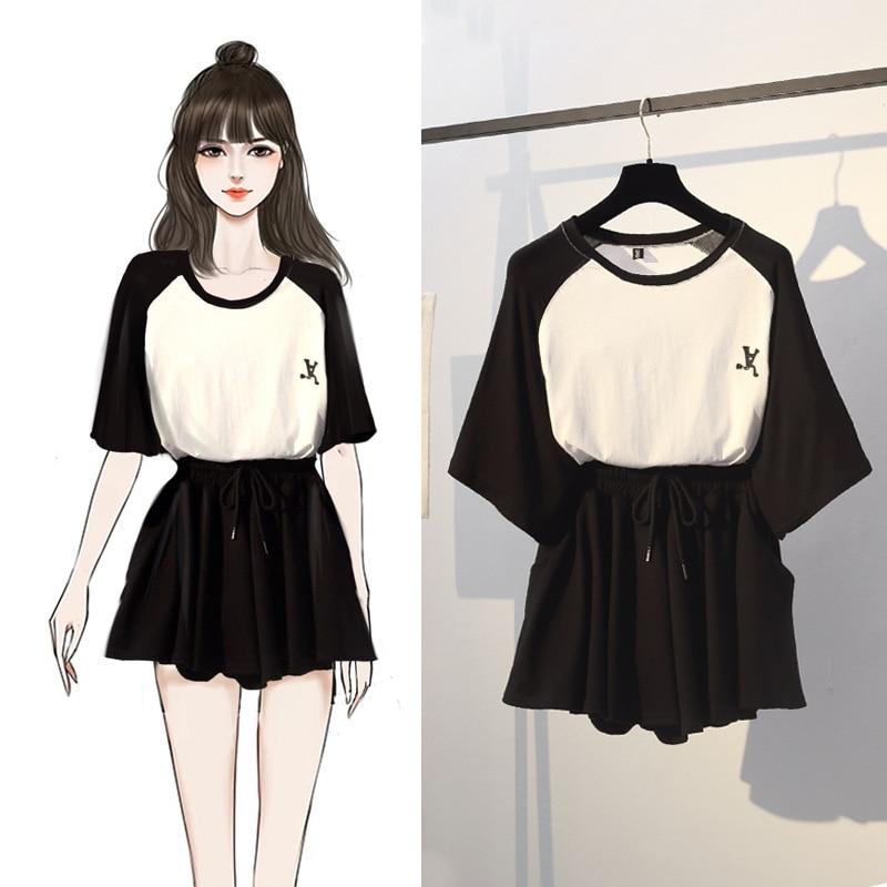 Two Piece Set Cotton Thin Slim Temperament O-Neck Pullover T-shirt Black Waist Drawstring Skirt Pockets Girlish Style Set