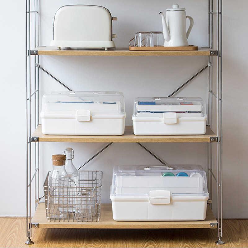Transparan Rumah Tangga Portable Multi-Lapisan Penyimpanan Wadah Kit Pertolongan Pertama Medis Plastik Kotak