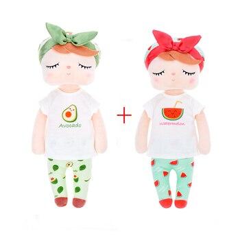 2pcs Metoo New Plush&Stuffed Sweet Rabbit Cute Animals For Kids Toys Angela Doll For Girls Birthday Christmas Gift Fruit Series