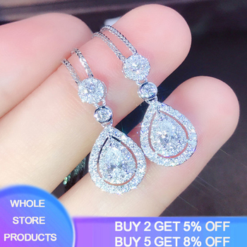 YANHUI Fashion Crystal Water Drop Pendant Necklaces For Women Short Clavicle Chain Choker 925 Sterling Silver Jewelry Girl DN685 square crystal leather choker 925 sterling silver pendant necklace for women fashion silver choker jewelry necklaces for girls