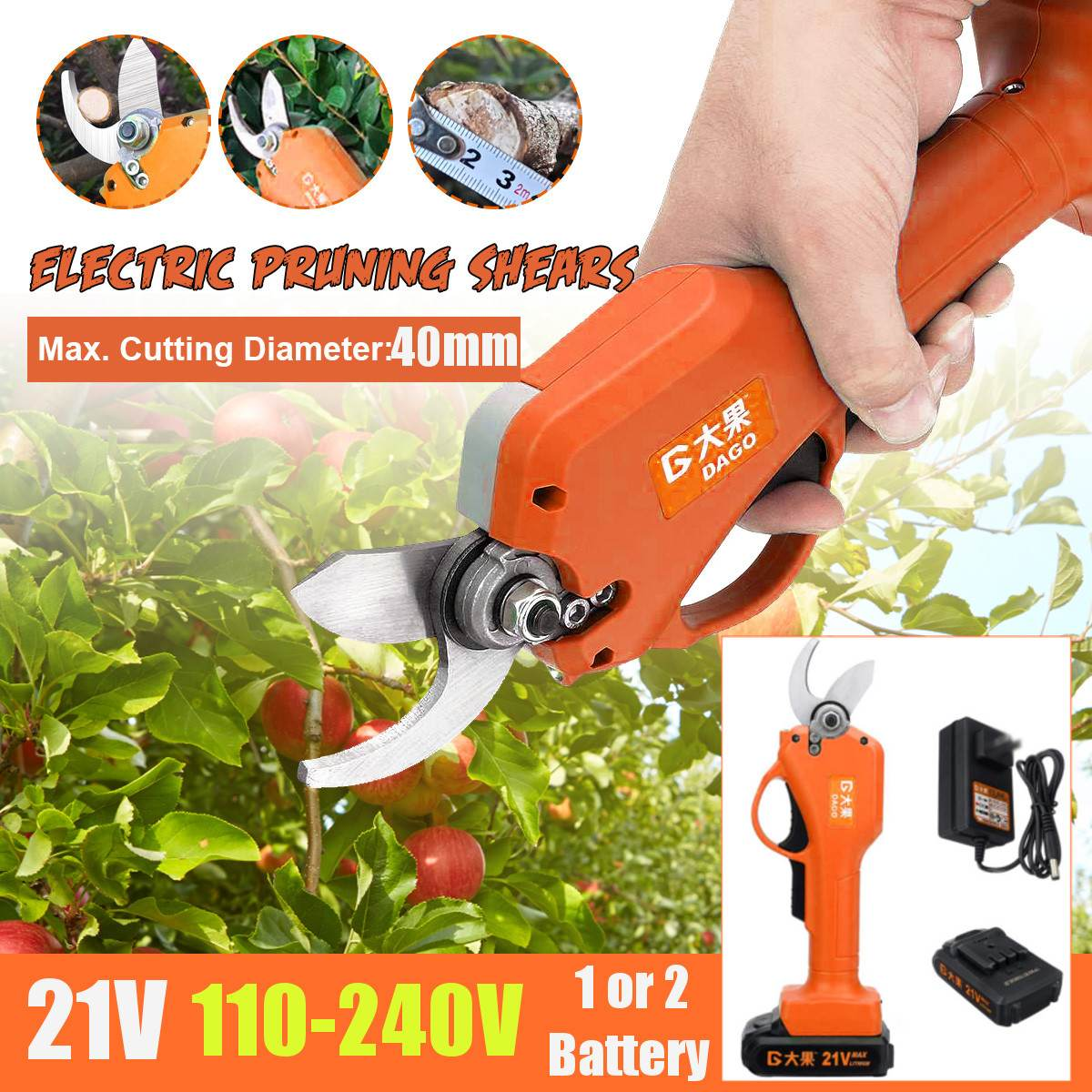 21V 40mm Electric Pruning Shears Cordless Secateur Rechargeable Pruning Scissors Pruners Garden Cutting Tools With 1  2 Battery