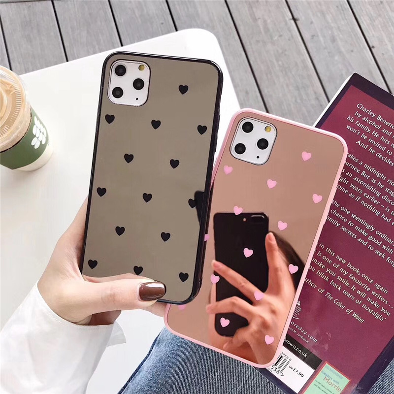 Luxo pequeno amor coração espelho caso do telefone para o iphone 11 pro max xs max xr x 8 7 plus 6 6s plus caso compõem espelho de volta capa s0