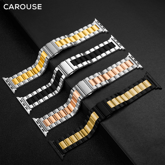 Carouse Stainless Steel Watchband For Apple Watch Band Series SE/6/5/4/3/2/1 38mm 42mm Metal Sport Strap For iWatch 40mm 44mm 4