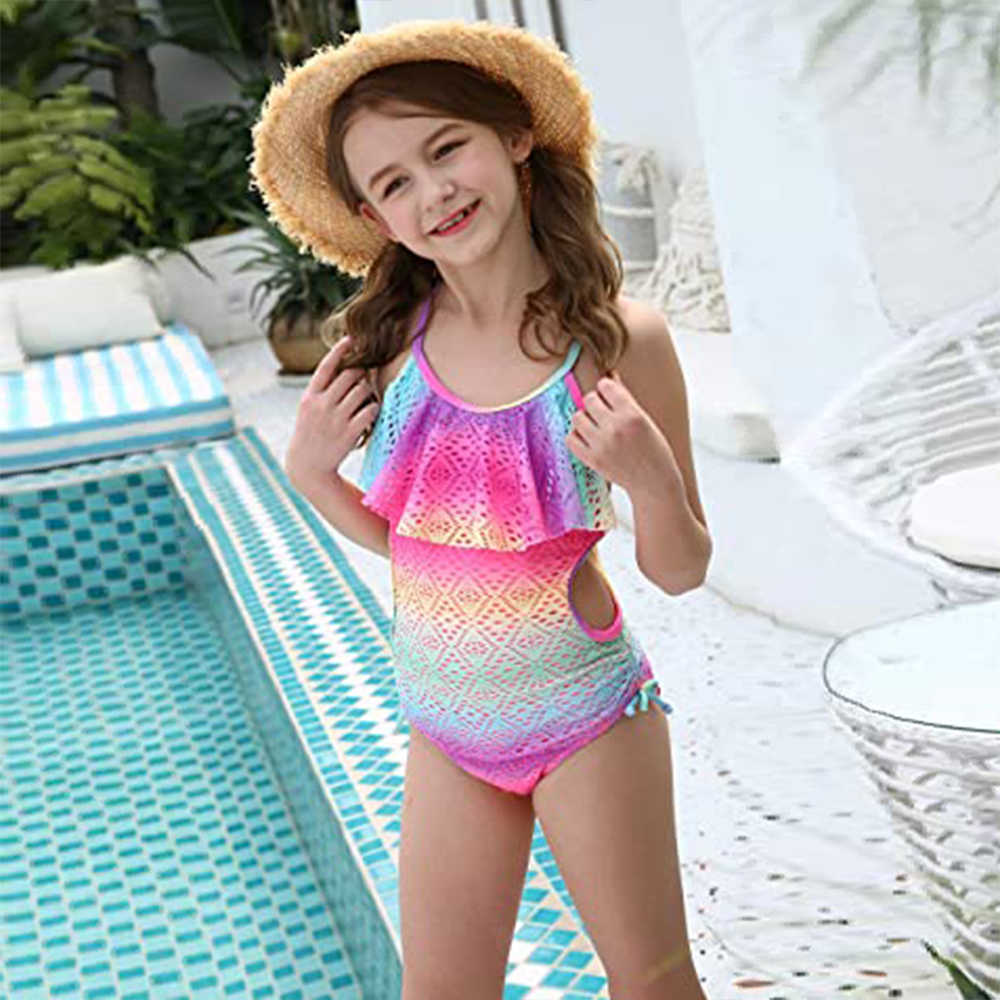 Beachwear Baby Girls Bathing Suit Mesh Lace Flamingo Print Swimwear Swimsuit