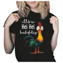 Yaz tavuk baskı T shirt moda bu bir gün Hei Hei mektup komik gömlek kısa kollu O boyun Tee T-shirt kadın üstleri