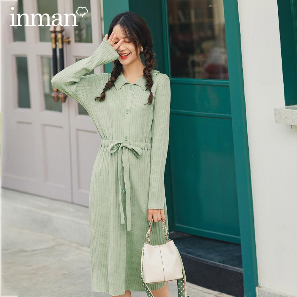 INMAN 2020 New Arrival Spring Bean Green Color Flower Turn Down Collar Single Breasted Drawstring Long Sleeve Knit Wear Dress