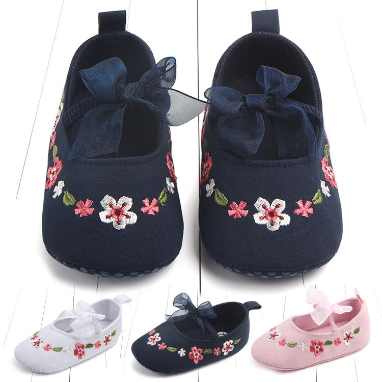 Newborn First Walkers Toddler Shoes Non-slip Baby Girls Kids Floral Shoes Princess Shoes Soft Sole Kids Toddler Infant Boots