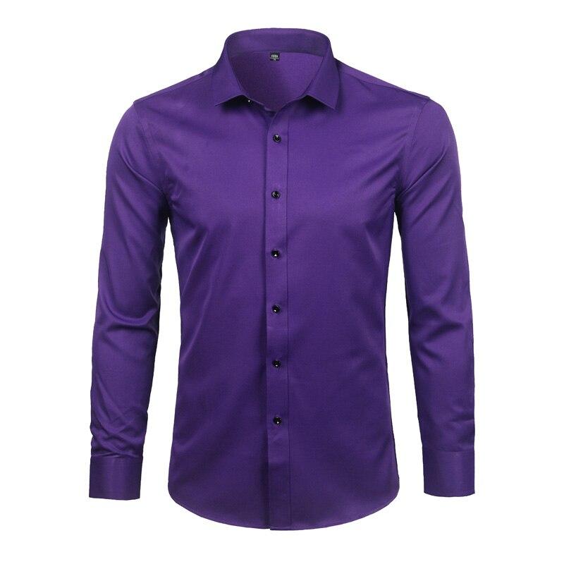 Szara elastyczna koszula z włókna bambusowego mężczyźni Brand New z długim rękawem męskie ubranie koszule Non Iron łatwy w pielęgnacji do pracy koszulka Homme XXL