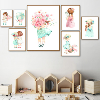 Cute baby girl rose umbrella Nordic poster and print wall art canvas painting kindergarten cartoon wall picture for kids room de black white baby animal rabbit tail canvas art print and poster nursery bunny canvas painting for kids room nordic wall decor