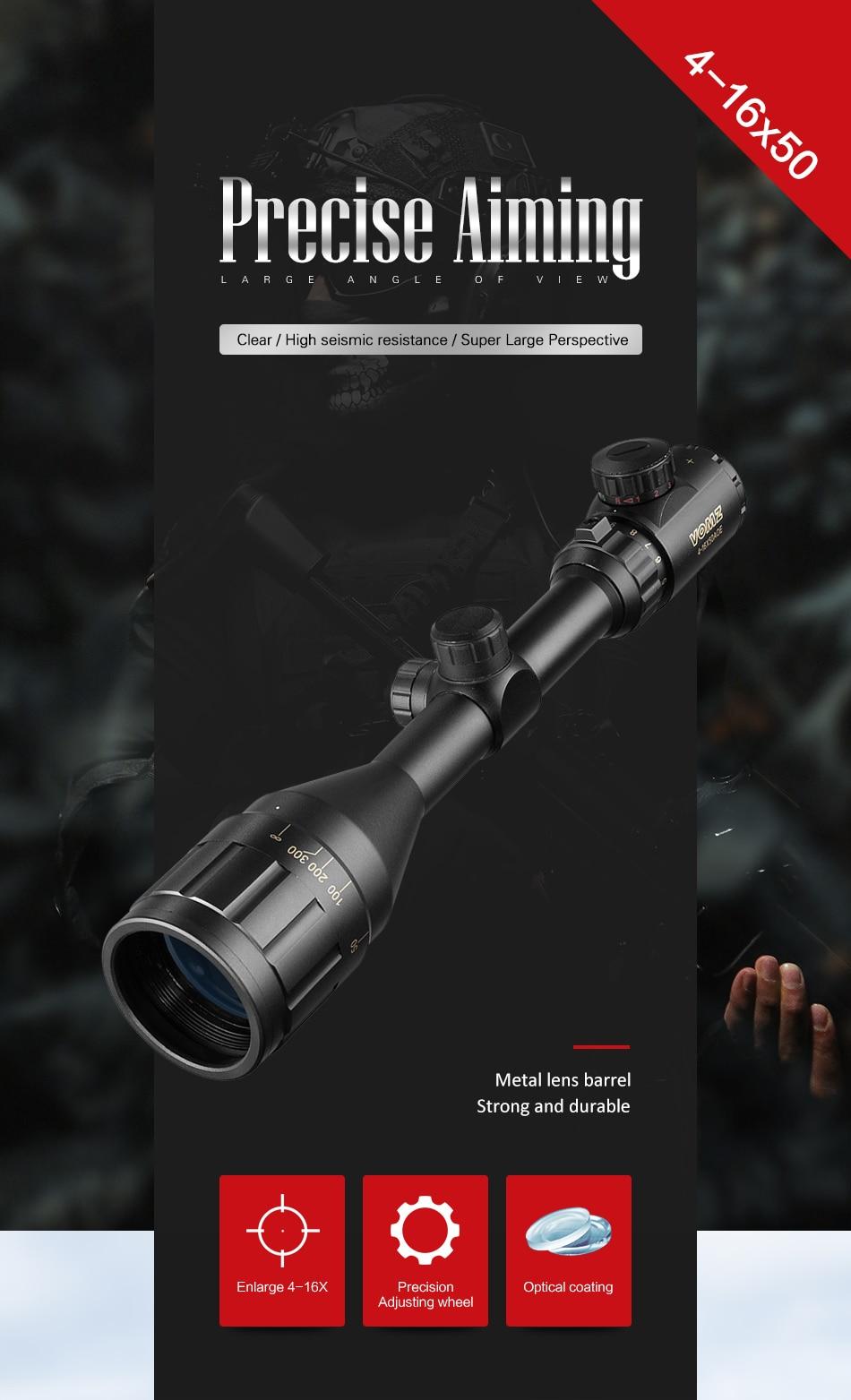 tático riflescope caça escopos de vidro tamanho