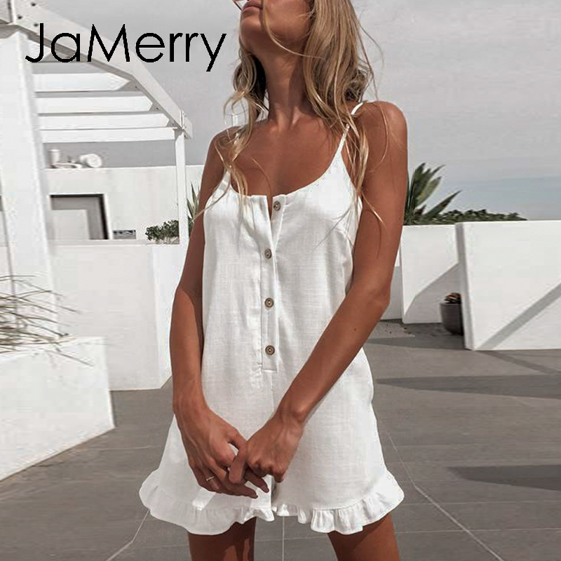 JaMerry Cotton Linen Solid Female Playsuit Sexy Spaghetti Strap Women Jumpsuit Romper Casual Summer Beach Wear Ladies Playsuit