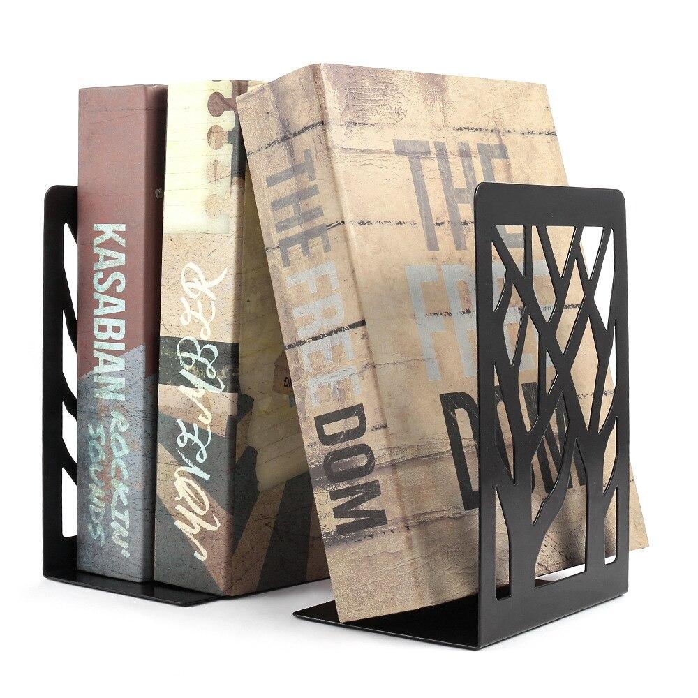 1 paar Metall Hohl Bücherregal Desktop-Organizer Büro Bücherregal Zeitungen Magazin Buchstütze Stehen Lagerung Rack-Home Decor