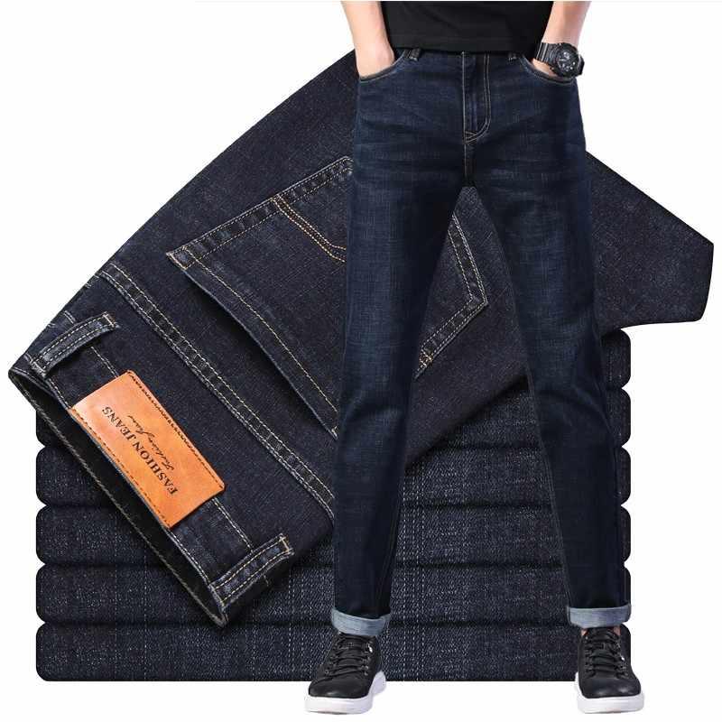 2019 สีดำสีเทาแบรนด์กางเกงยีนส์กางเกงผู้ชายเสื้อผ้าความยืดหยุ่นผอมกางเกงยีนส์ธุรกิจ Casual ชายกางเกงยีนส์ Slim กางเกงสไตล์คลาสสิก