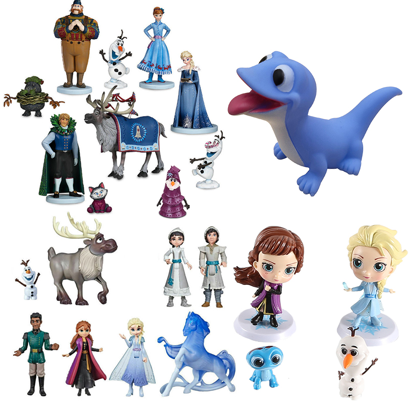 Disney Frozen 2 Set Elsa Anna Blue Salamanders Bruni Princess Doll Olaf Kristoff Action Figure Birthday Gift Toys For Children