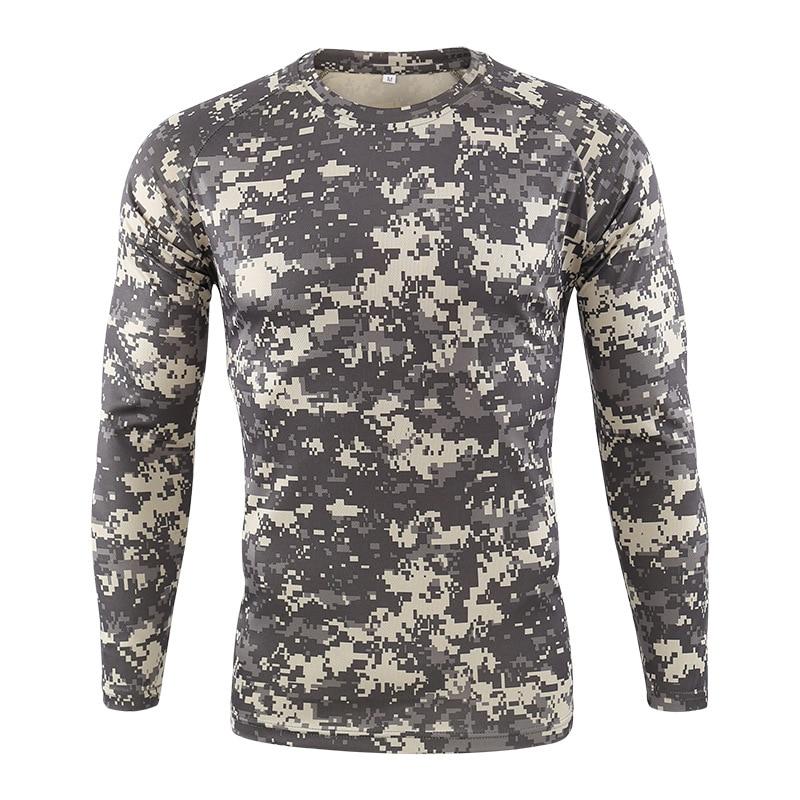 Футболка мужская быстросохнущая Военная камуфляжная футболка с длинным рукавом Мужская дышащая футболка для фитнеса Топы тактическая Боевая камуфляжная армейская футболка - 6