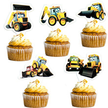 Cake-Toppers Plane-Train Construction-Tractor Happy-Birthday-Party Fireman 10pcs