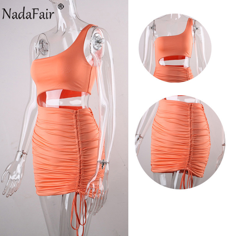 Nadafair Mini Bodycon Summer Dress Women Club Hollow Out Ruched Backless Orange White Black Party Bandage Women Sexy Dresses