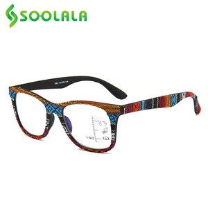 Image 4 - SOOLALA Multifocus Progressive Anti Blue Light Reading Glasses Women Men Near Far Sight Woodgrain Hyperopia Reading Glasses