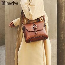 DIINOVIVO Vintage PU Leather Bags Women Handbags Famous Brand  Crossbody For 2019 Rivet Shoulder Female WHDV1272