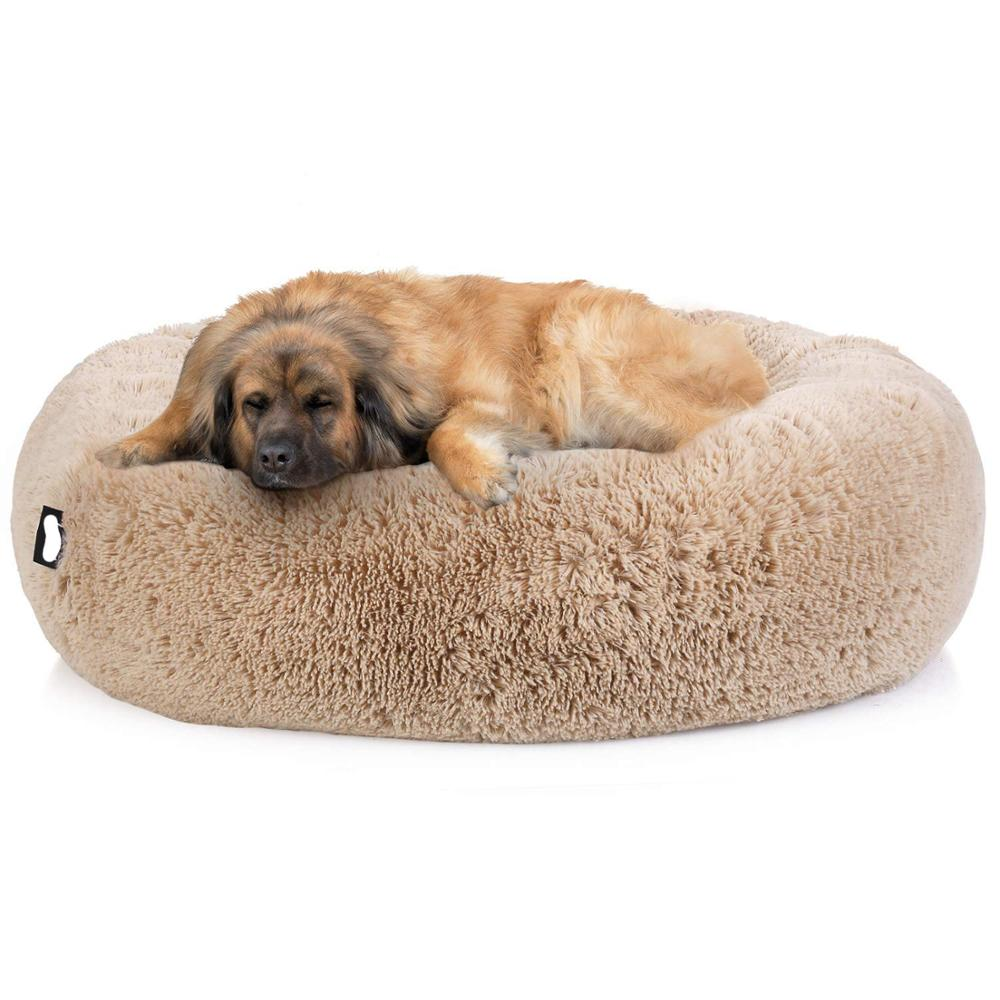 Super Soft and Comfortable Pet Beds Kennel for Puppies and Cat in Round Shape Made of Non Toxic Long Plush