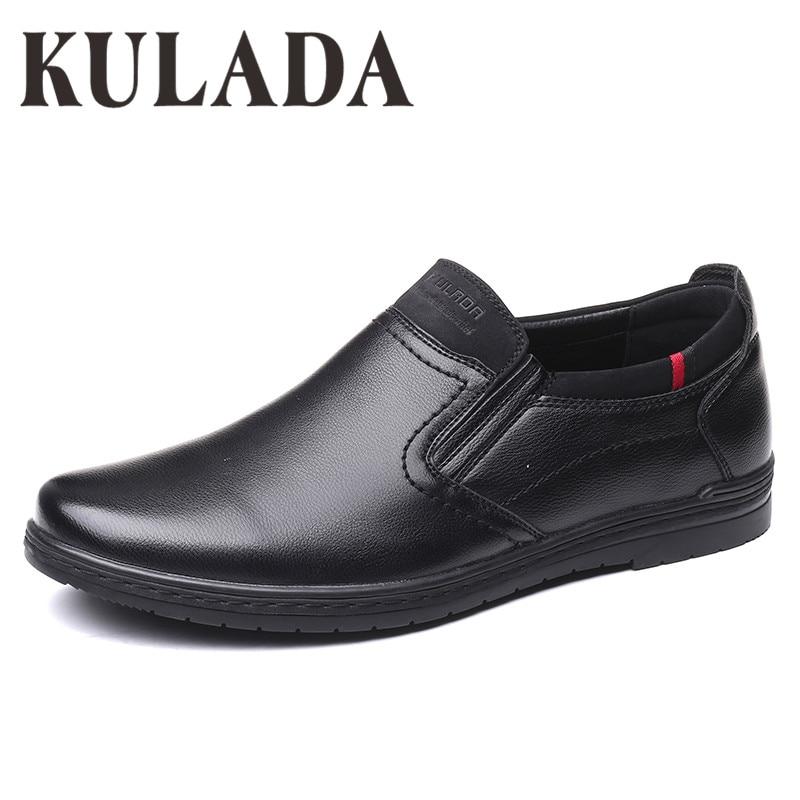 KULADA 2019 Shoes Men Shoes Larger Size Shoes Soft Fashion Walking Leather Comfortable Men Casual Shoes
