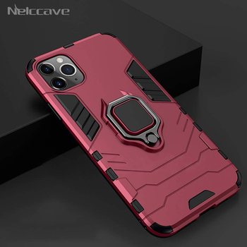 500 Pieces Ring Holder Rugged Armor Case For Apple iPhone 11 Pro XS Max XR X 8 Plus 7 6 6S Cases Cover Fits Magnetic Car Mount