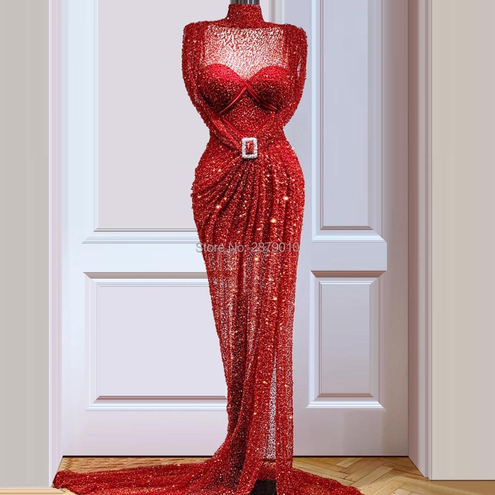 Kaftans Glitter Elegant Red Evening Dress Sheath Floor-Length Beads Sequins Robe De Soiree Aibye Prom Dress Middle East Dubai